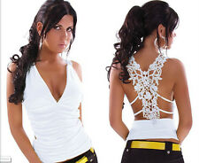 Sexy Tank Top Ruffle V Neck with Embroidery Hollow Out Back NIGHTCLUB Lace