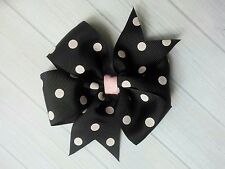 "Black with Pink Dots Polka Dot Hair Bow - 4"" Bow - Clip or Barrette"