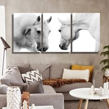 Oil Painting Canvas Animal White Horses Wall Art For Living Room 3PCs No Frame