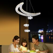 Modern LED Dimmable Light Chandelier Pendant Lights w/ K9 Crystal Decor Living