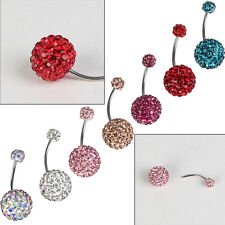 1Pc Belly Button Bar Navel Ring Czech Stones Ball Body Piercing Jewelry Earrings