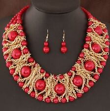 Boutique Jewelry Sets For Women Gold Plated African Beads Necklace Earrings Set