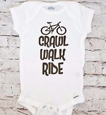 Crawl Walk Ride Baby Onesie Bodysuit Shirt Mountain Bike Bicycle MTB Cyclist Fox
