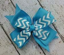 "Boutique Aqua Blue White Chevron Double Layer Hair Bow 4"" Clip or Barrette"