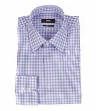 HUGO BOSS ENZO US BLACK LABEL DRESS SHIRT POINT REGULAR FIT PURPLE CHECKED-NWT