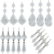 5Pc Clear Crystal Teardrop Chandelier Prism Icicle Ornaments Decor Suncatcher