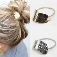 2Pcs Fashion Women Lady Leaf Hair Band Rope Headband Elastic Ponytail Holder