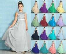 Floor-length Chiffon / Lace Junior Bridesmaid Dress A-line Scoop 4-16 years old