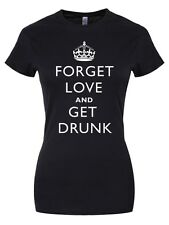 New Forget Love and Get Drunk Black Skinny Fit T-Shirt