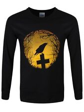 Crow Sunrise Men's Black Long-sleeve T-Shirt