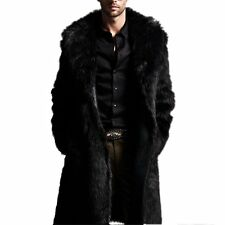 Mens Faux Fur Long Coat Outerwear Warm Lapel Jacket Winter Overcoat Parka Black