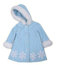 Girls Coat Frost Blue Bonnie Jean Fleece Coat with Fur Trim Size 5 NWT