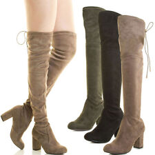 Womens Over The Knee Thigh High Chunky Block Heel Boot Faux Suede Drawstring Tie