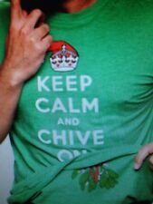 the Chive *Authentic* Keep Calm and Chive On Grn Misteltoe Men's t-shirt L XL 2X