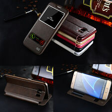 Luxury Window View Slim Flip Leather Wallet Stand Cover Case For Samsung iphone