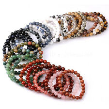 Handmade 12mm Natural Gemstone Round Beads Stretchy Bracelet Healing Jewelry