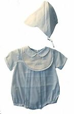 Petit Ami Boys Romper and Hat Blue Sailboat Shadow Embroidered NWT NB