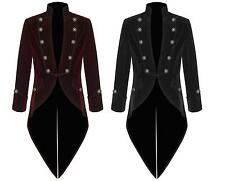 Men's Handmade Steampunk Tailcoat Jacket Red And Black Velvet Goth VTG Victorian