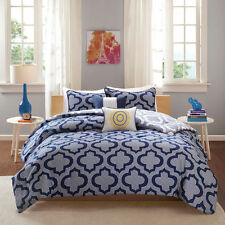 Transitional Summer Navy Blue Reversible 5-PC Comforter Set Full/Queen Twin