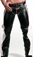 MENS LEATHER JEANS PANT TROUSER BIKER GAY RED BLACK & WHITE CONTRAST CHAPS