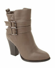 WOMENS GREY BUCKLE FASHION HIGH HEEL SIDE ZIP ANKLE BOOTS LADIES UK SIZE 2-8