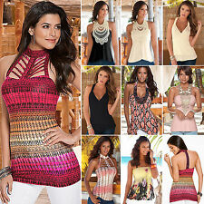 Summer Sexy Womens Off Shoulder Sleeveless Casual T-Shirts Tops Clubwear Blouses