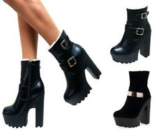 Ladies Chunky Block High Heel Platform Ankle Cleated Sole Biker Boots Shoes Size