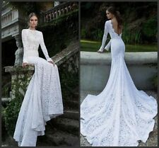 Backless Mermaid Lace Wedding Dress Vintage White Long Sleeves Wedding Dress