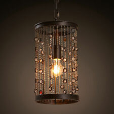 Vintage Style Metal Cylinder Shade Glass Bead Chandelier One-Light Pendant Light