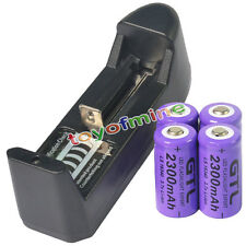 4x 16340 CR123A 123A 3.7V 2300mAh Rechargeable Battery Purple Cell + AA Charger