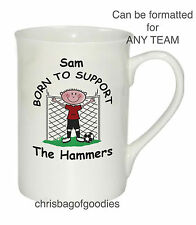 PERSONALISED FOOTBALL TEAM BONE CHINA MUG Gifts for all teams Him Her Christmas