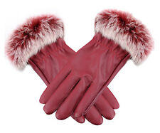 Fashion Winter Gloves Women Cute Rabbit Fur Plus Velvet Thicken Leather Gloves