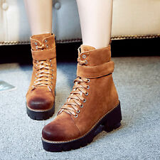 Punk Gothic Womens Block Chunky Heels Buckle Strap Lace Up Side Zip Ankle Boots
