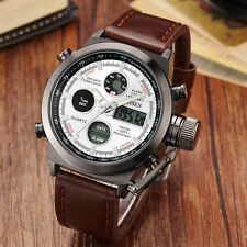 OHSEN Mens LED Digital Sports Leather Analog Alarm Day&Date Quartz Wrist Watches