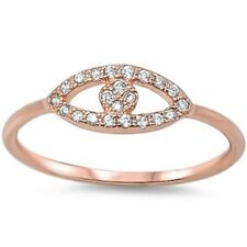 Evil Eye Ring Solid 925 sterling Silver Pink,Rose Gold Russian CZ