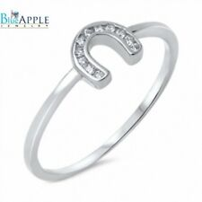 Horse Shoe Fashion Ring Solid 925 Sterling Silver 0.10CT White Russian CZ
