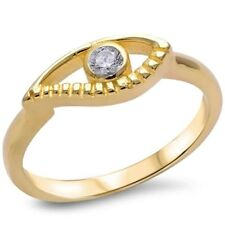 Evil Eye Lovers Ring Solid 925 Sterling Silver Yellow Gold Plated Russian CZ