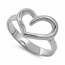 Cute Heart Ring Solid 925 Sterling Silver White Topaz Valentines Love Gift