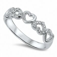 6MM Wide Heart Band Ring Solid 925 Sterling Silver Russian CZ Valentines Gift