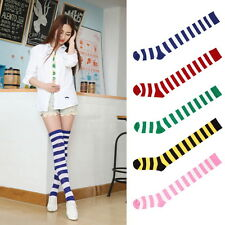 Fashion Sexy Lady Girl Thigh High Striped Over Knee Socks Cotton Stockings BE