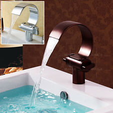 Bathroom Basin Sink Faucet Waterfall Mixer Tap Chrome &Oil Rubbed Bronze Modern