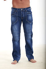 MENS REGULAR FIT TRENDY FUNKY DENIM JEANS DENIM BLUE SIZES 28-36