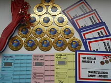 NETBALL - 50 MM METAL MEDALS WITH RIBBON SET OF 15 -CERTIFICATES/SCRATCH CARDS