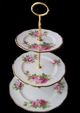 Royal Albert AMERICAN BEAUTY 3 Teir Cake Stand 1st Eng c1940's