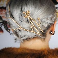 Exquisite Metal Tree Branch Hairpins Gold Silver Hair Clips for Women Bobby Pins