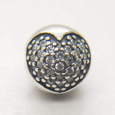 Authentic Genuine S925 Silver WHITE PAVÉ HEART CLIP CHARM Bead