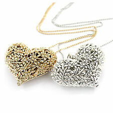 New Ladies Fashion Silver Or Gold Cute Hollow Floral Heart Necklace Chain 27Inch