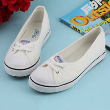 Women Casual Canvas Work Flats Loafers Slip On Soft Fashion Boat Shoes BE