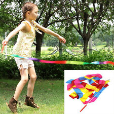 2 Colors 4M Gym Dance Ribbon Rhythmic Art Gymnastic Streamer Twirling Rod Stick