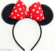 Minnie Mouse Ears Bow Mickey Red Black Disney Halloween Costume Headband